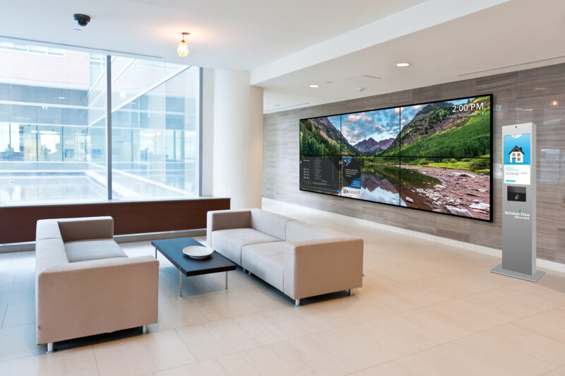 TouchSource Video Wall and Kiosk in a Lobby